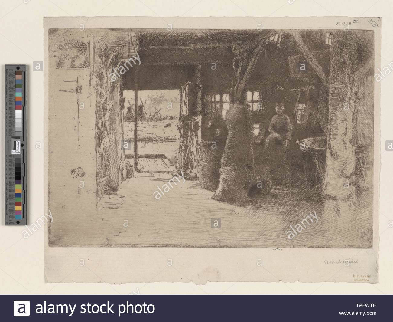 Whistler,JamesMcNeill(1834-1903)-The mill - Stock Image