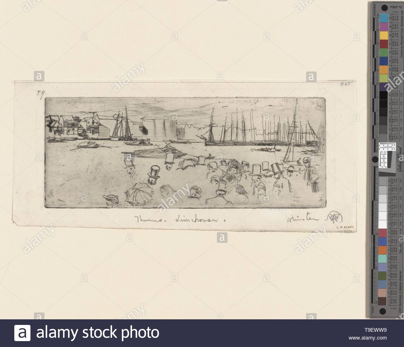 Whistler,JamesMcNeill(1834-1903)-The pennyboat - Stock Image