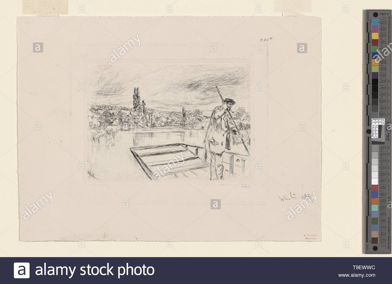 Whistler,JamesMcNeill(1834-1903)-The punt - Stock Image