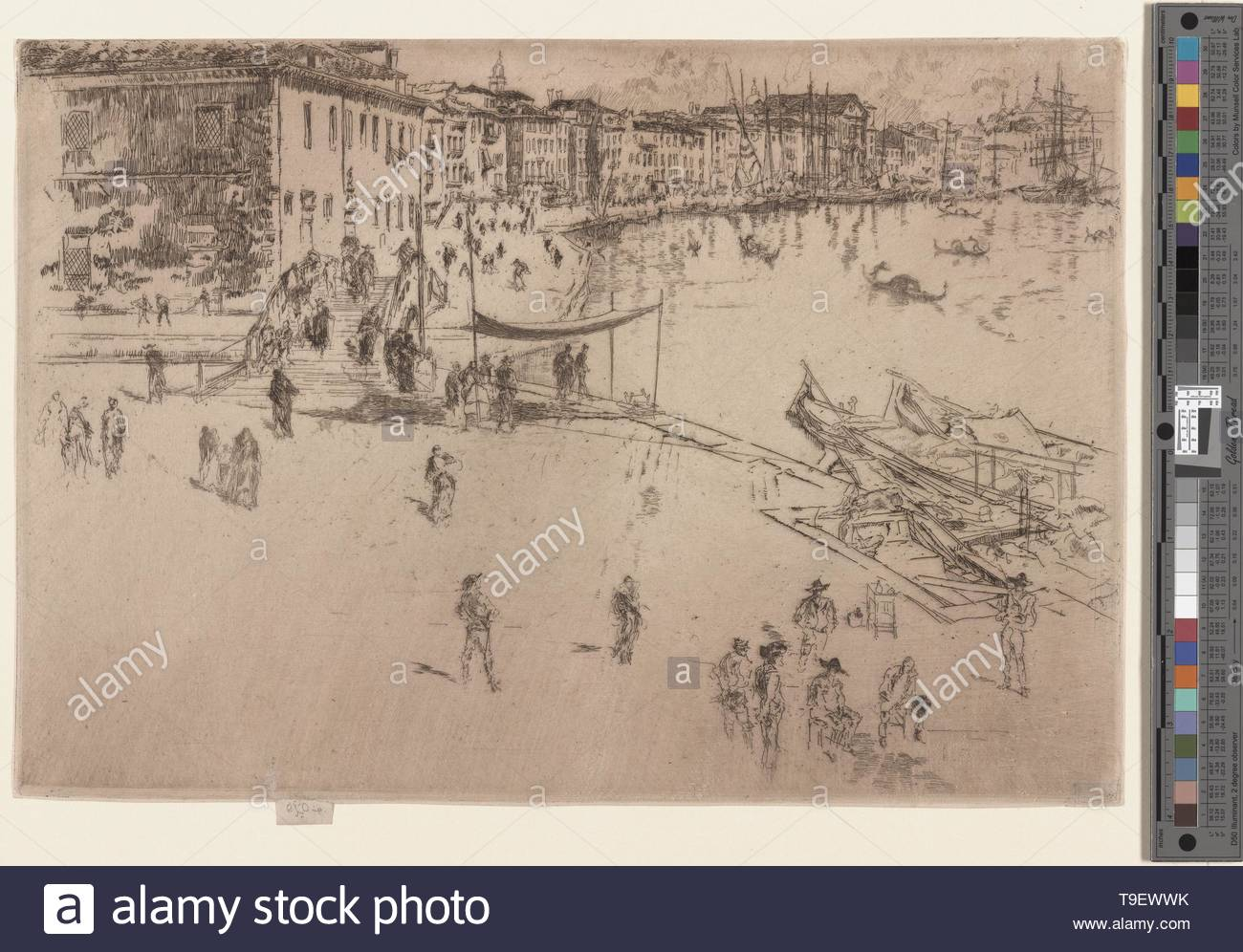 Whistler,JamesMcNeill(1834-1903)-The riva, no  2 - Stock Image