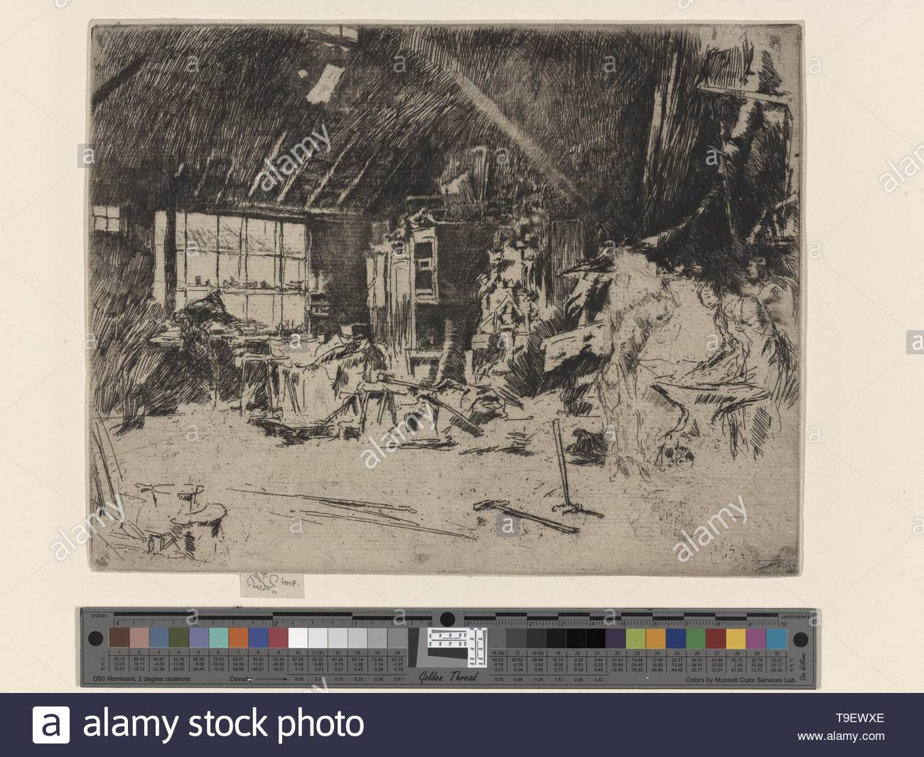Whistler,JamesMcNeill(1834-1903)-The smithy - Stock Image