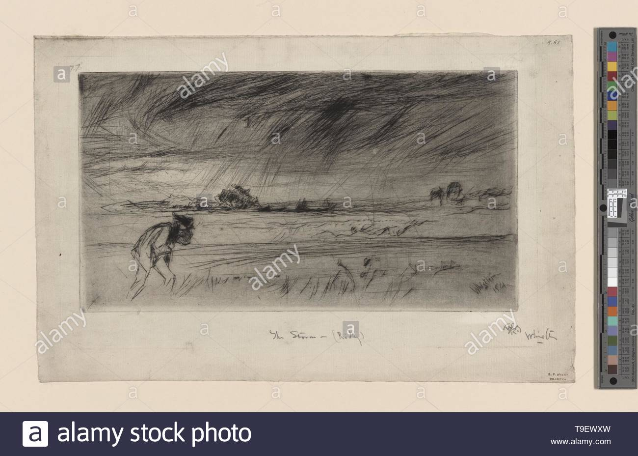 Whistler,JamesMcNeill(1834-1903)-The storm [cancelled plate] - Stock Image
