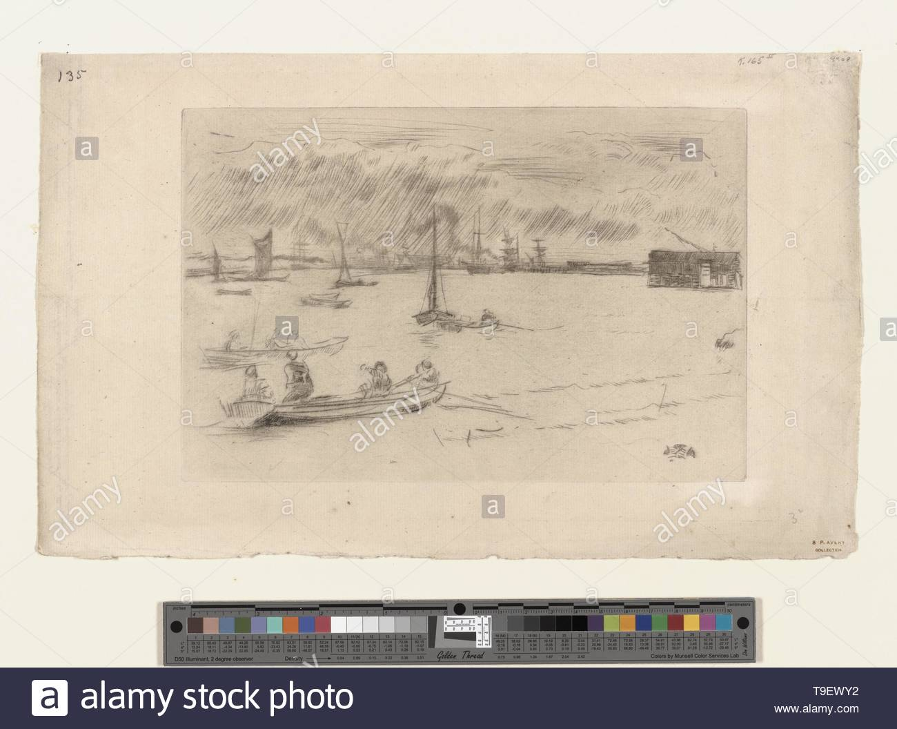 Whistler,JamesMcNeill(1834-1903)-The Thames towards Erith - Stock Image