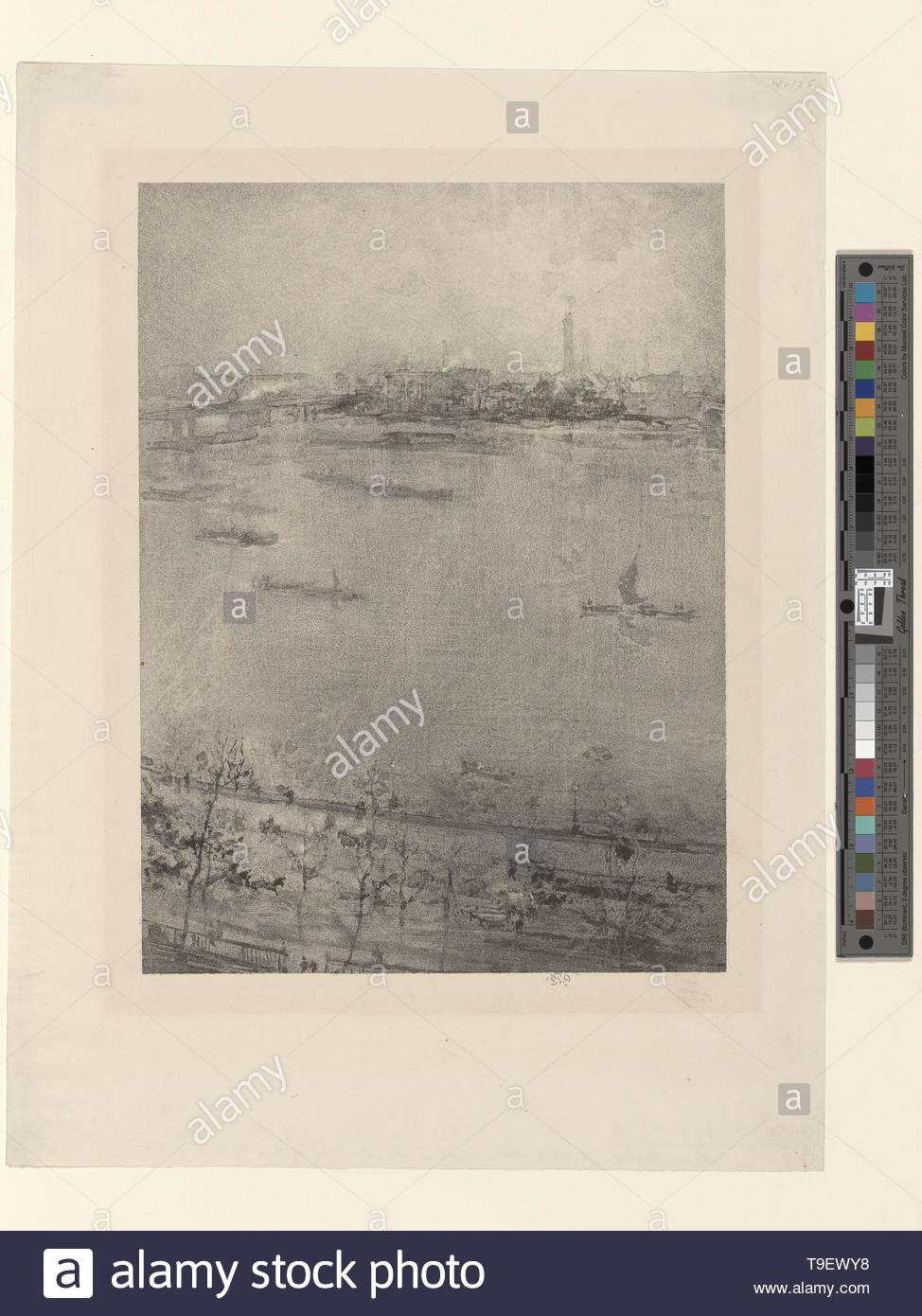 Whistler,JamesMcNeill(1834-1903)-The Thames - Stock Image