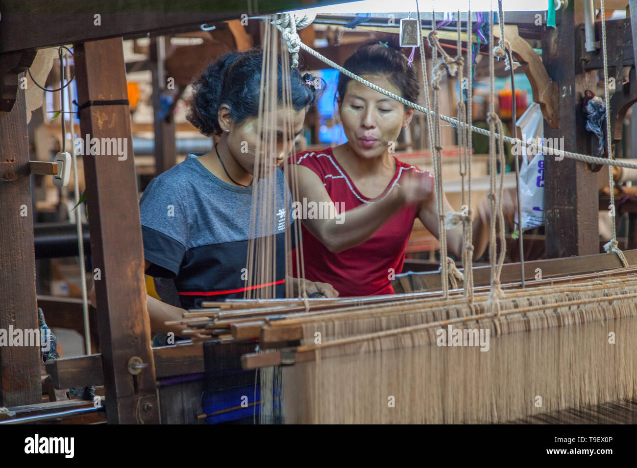 Young burmese women working at the loom - Stock Image