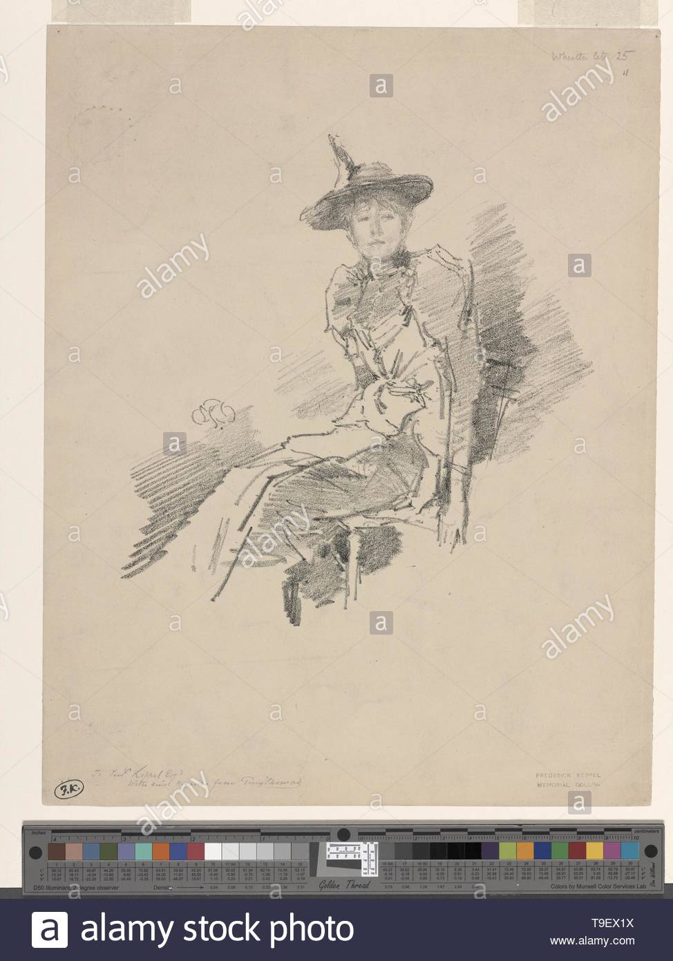 Whistler,JamesMcNeill(1834-1903)-The winged hat - Stock Image