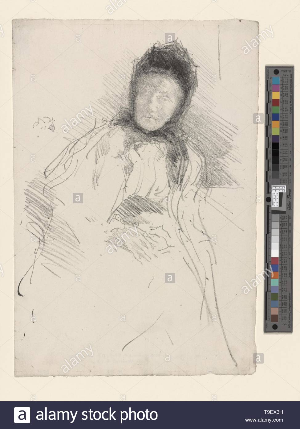 Whistler,JamesMcNeill(1834-1903)-Unfinished sketch of Lady Haden - Stock Image
