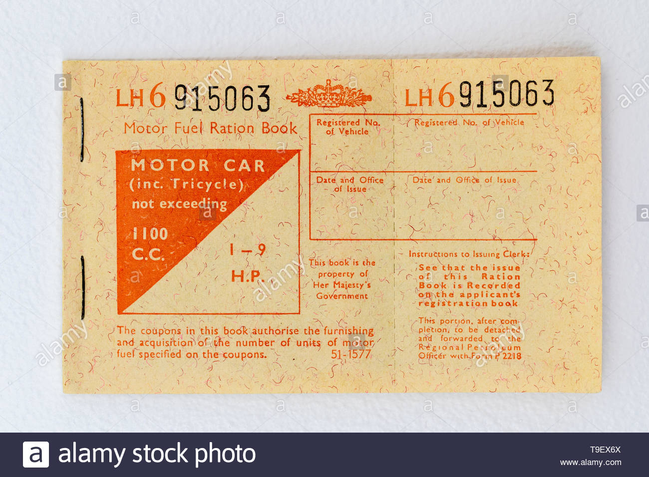 1973 Motor Fuel Ration book. Issued by the UK Government in response to the oil crisis caused by production restrictions duing the Yom Kippur Arab/Isr - Stock Image