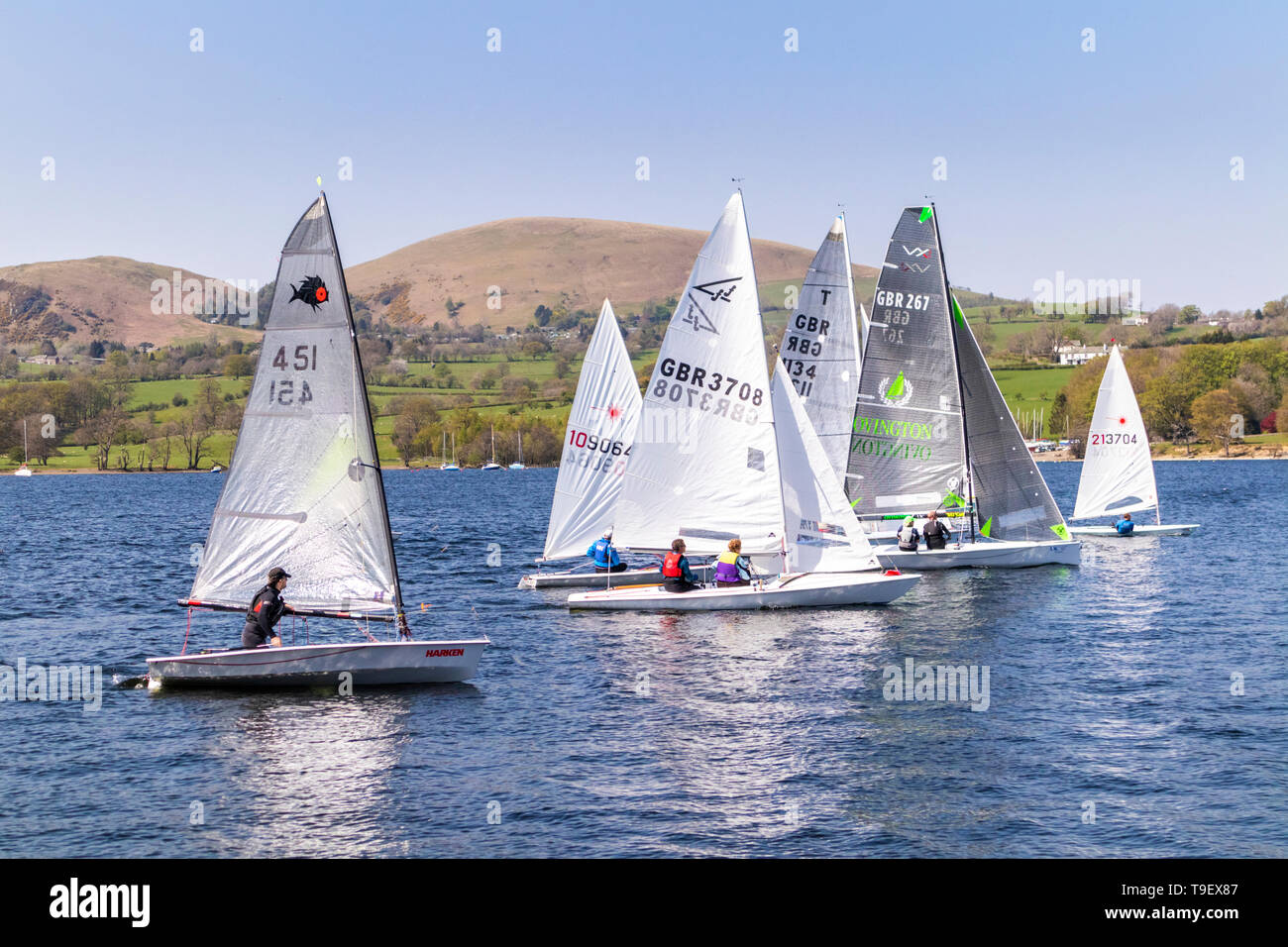 The start of a sailing race at Ullswater Yacht Club, Ullswater, Cumbria UK - Stock Image