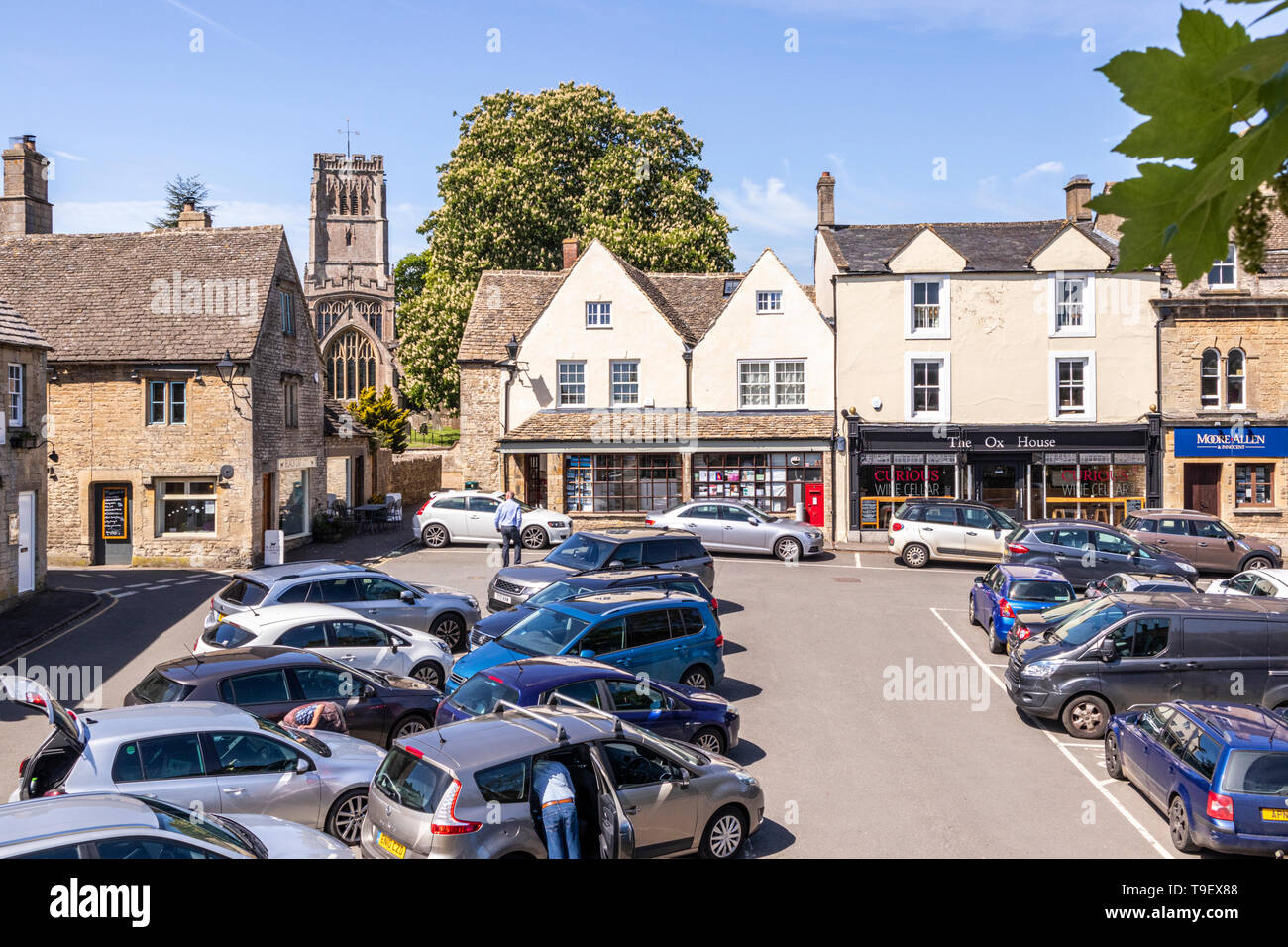 The Market Place in the ancient Cotswold town of Northleach, Gloucestershire UK - Stock Image