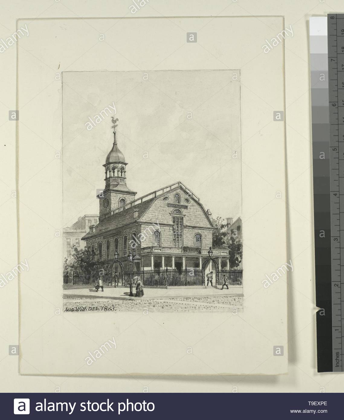 Will,JohnM August(1834-1910)-[The New York Post Office on Nassau Street, formerly the New and later the Middle Dutch Church ] - Stock Image