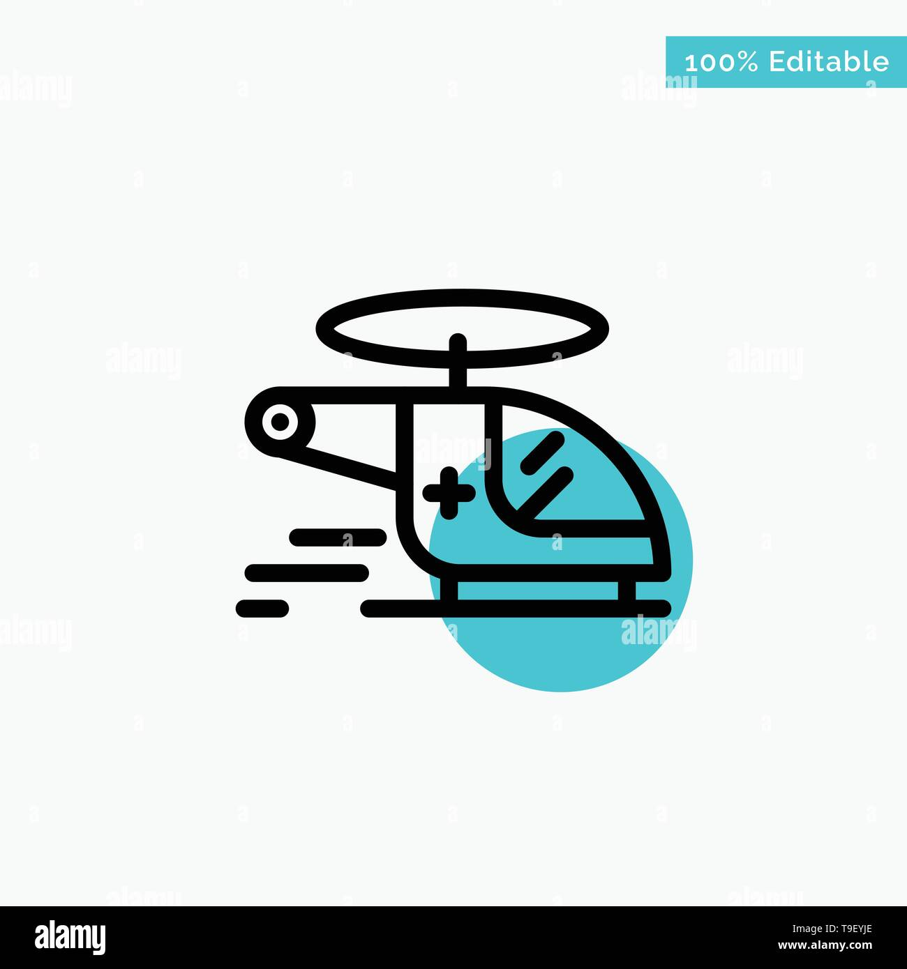 Helicopter, Chopper, Medical, Ambulance, Air turquoise highlight circle point Vector icon - Stock Image