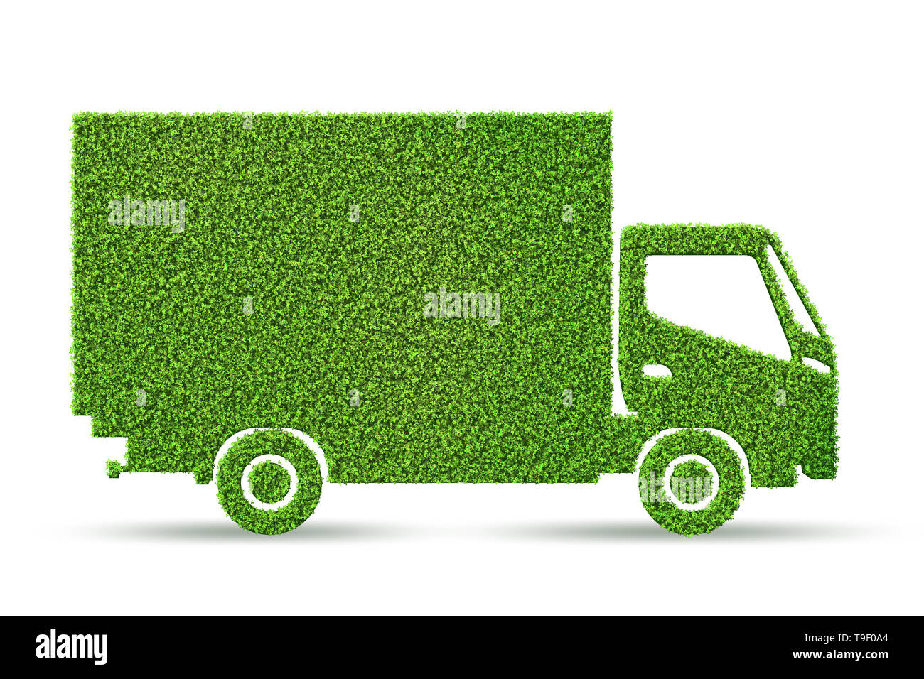 Green low emission electic vehicle concept - 3d rendering - Stock Image