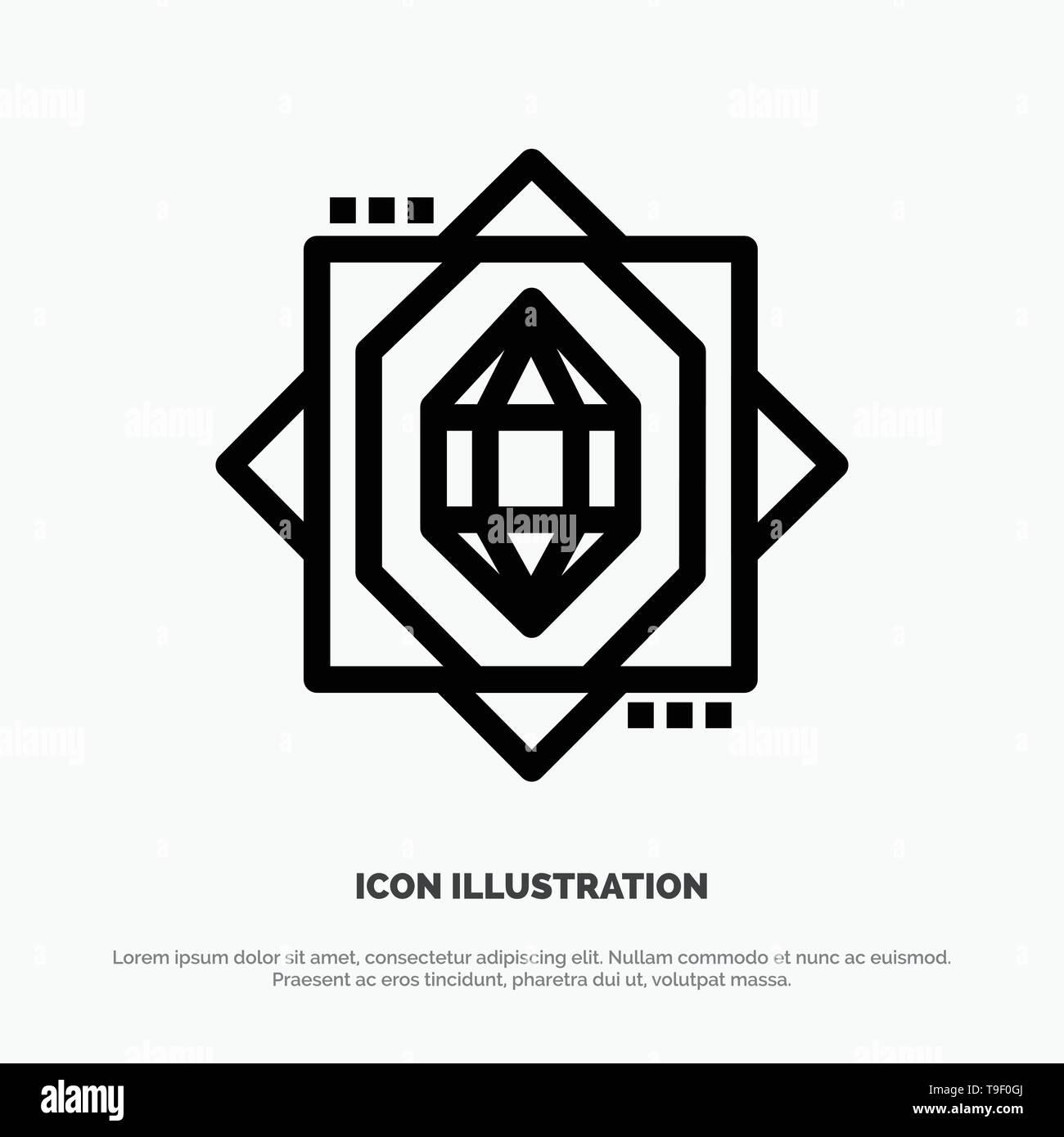 3d, Core, Forming, Design Vector Line Icon - Stock Vector