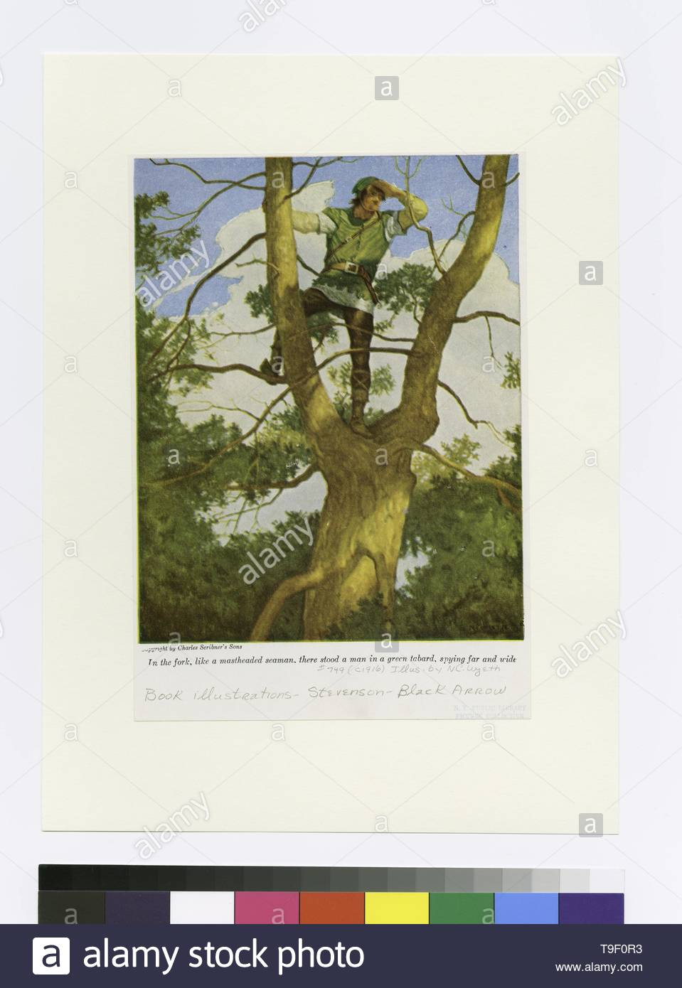Wyeth,N C (NewellConvers)(1882-1945)-In the fork, like a mastheaded seamen, there stood a man in a green tabard, spying far and wide - Stock Image