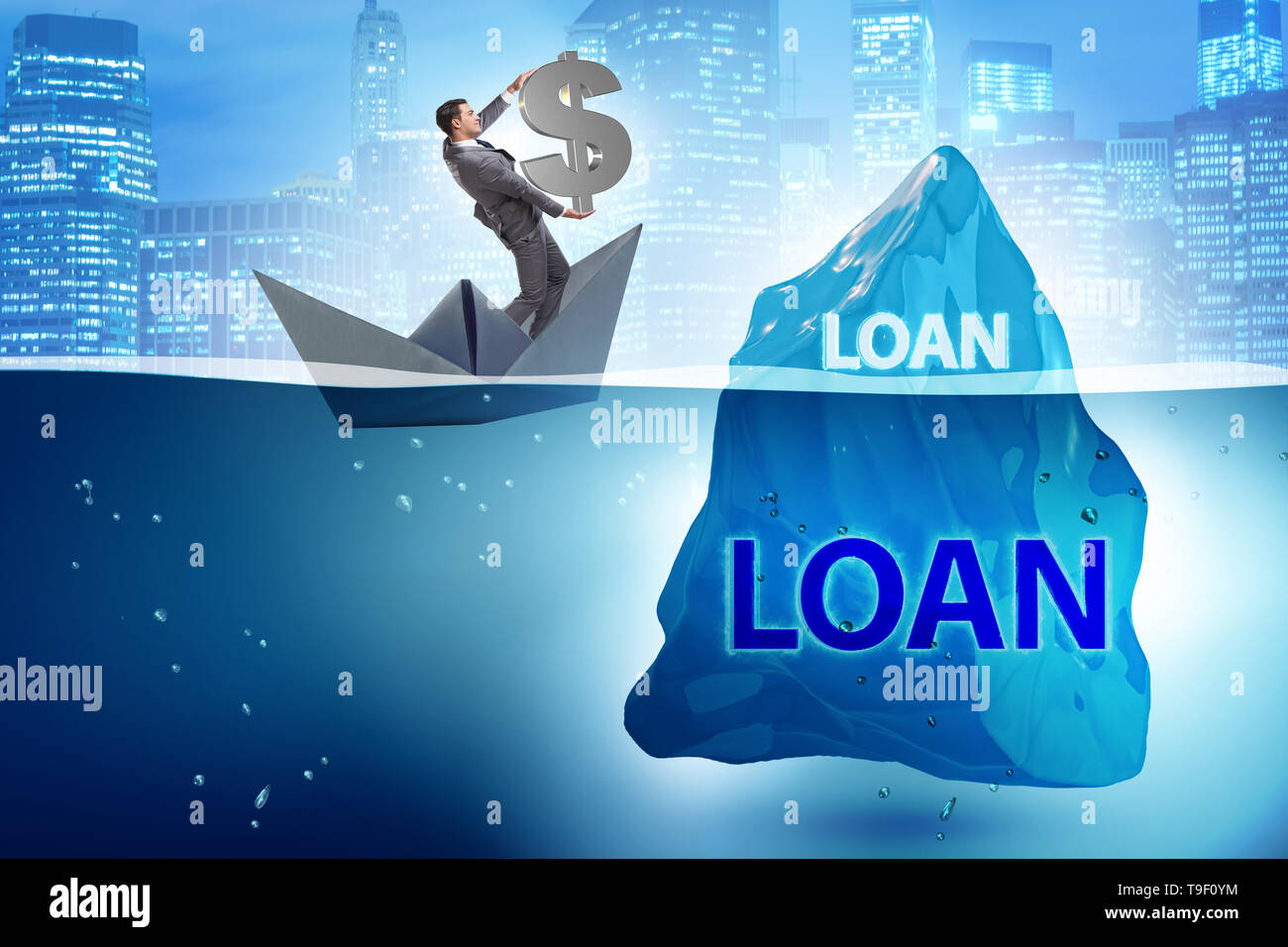 Debt and loan concept with hidden iceberg - Stock Image