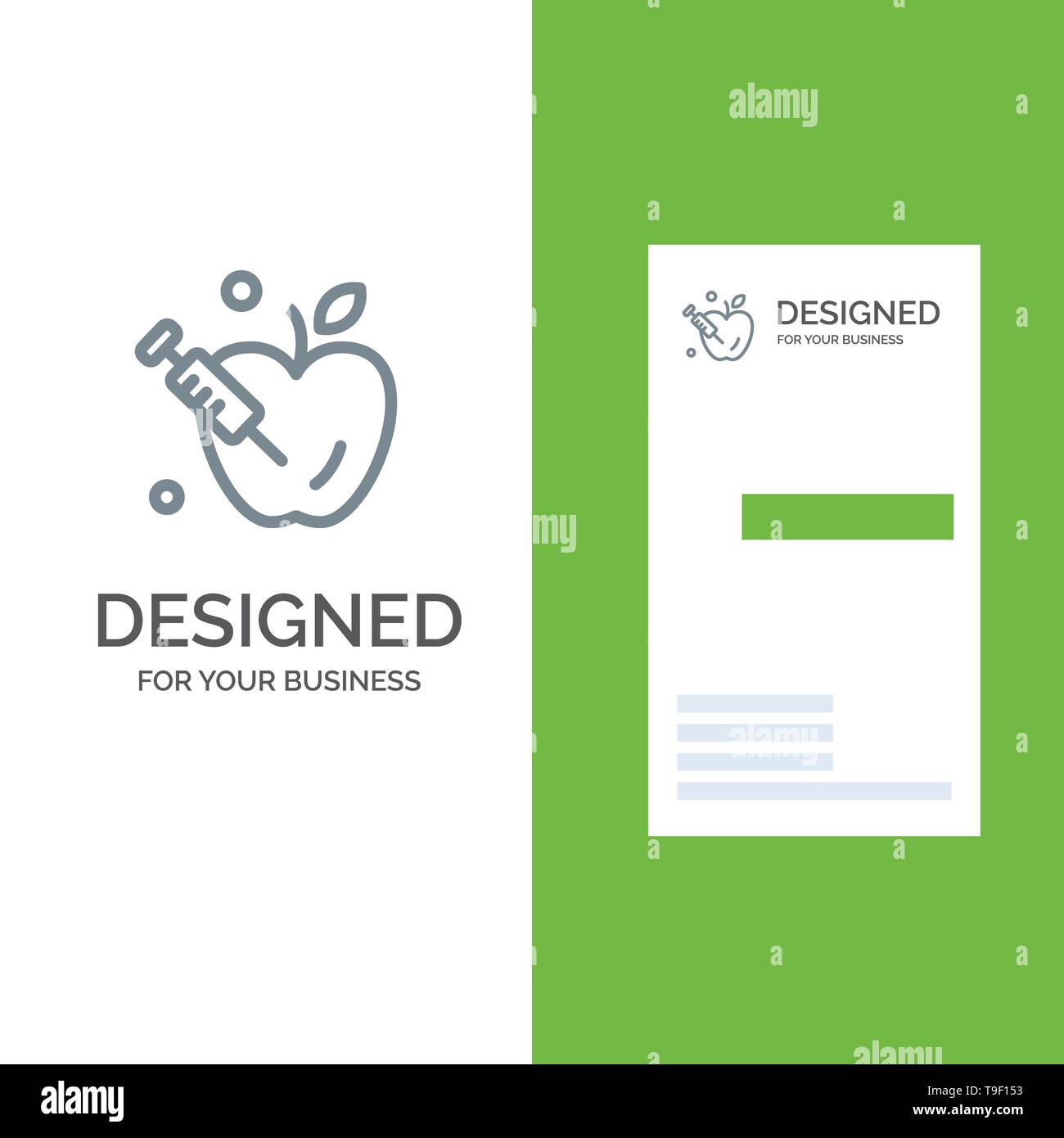 Apple, Gravity, Science Grey Logo Design and Business Card Template - Stock Vector