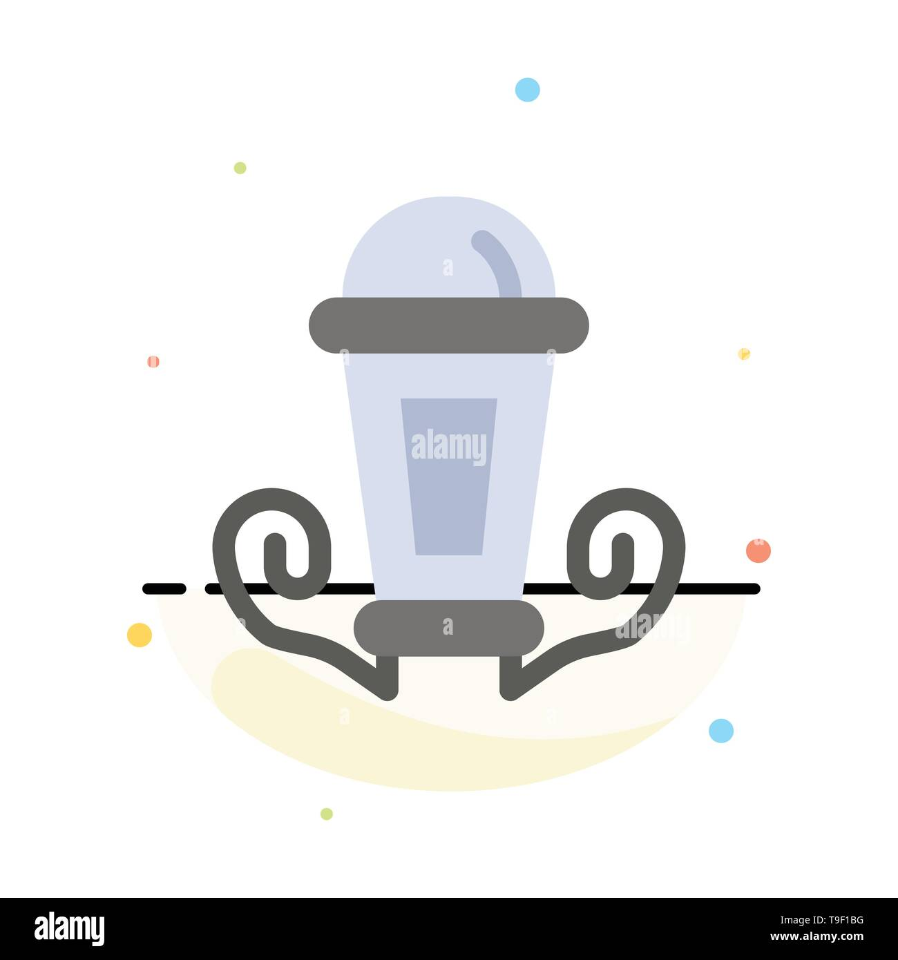 Light night lamp lantern abstract flat color icon template stock vector
