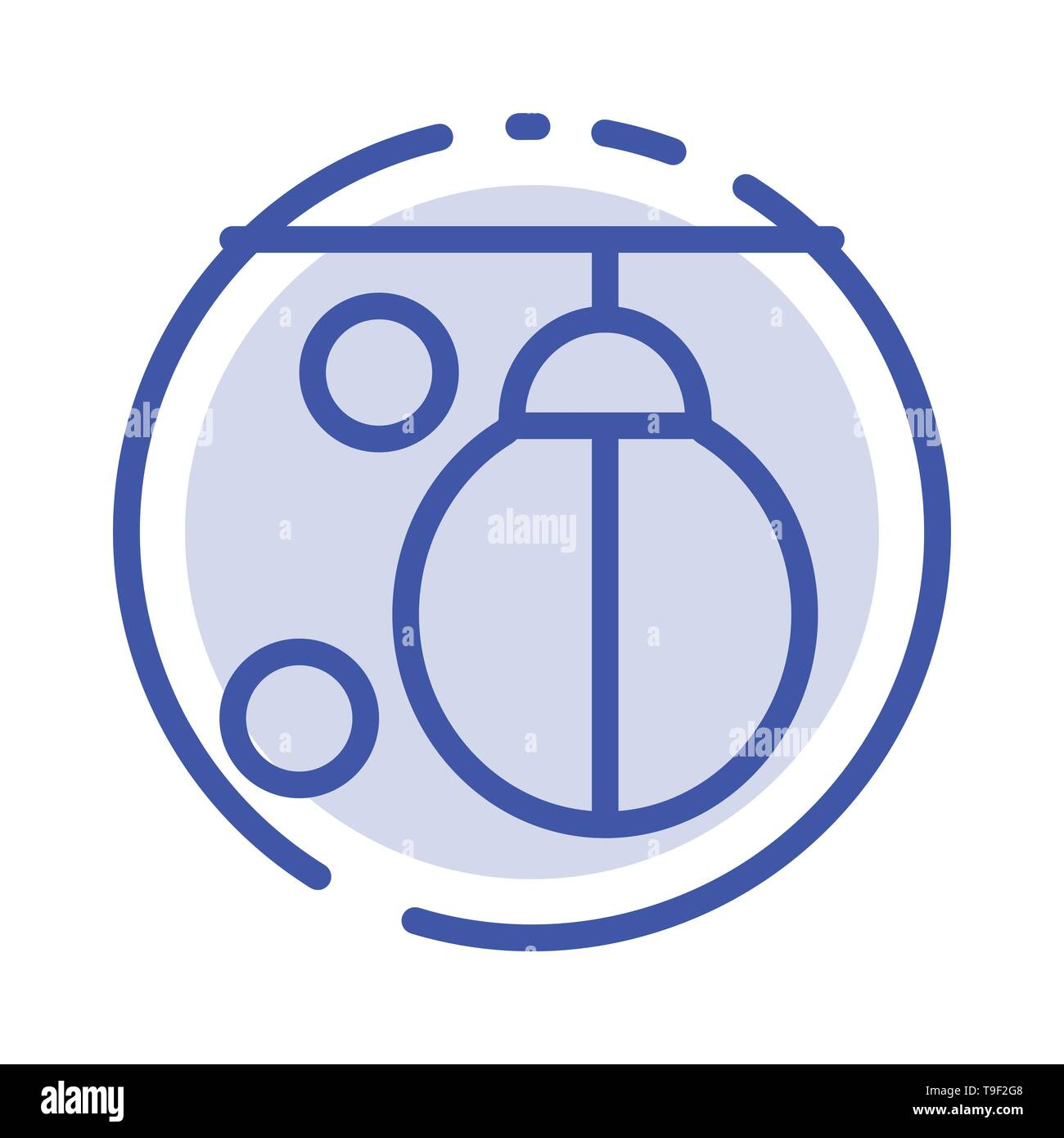 Bag, Boxer, Boxing, Punching, Training Blue Dotted Line Line Icon - Stock Image