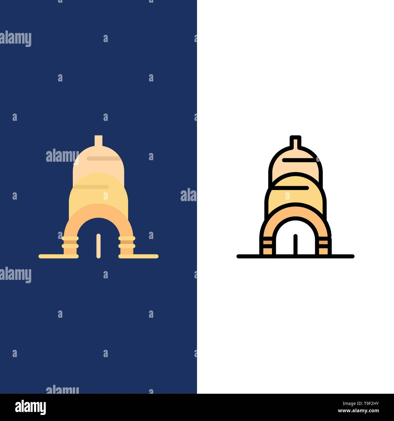 Chrysler, Building, Usa  Icons. Flat and Line Filled Icon Set Vector Blue Background - Stock Image