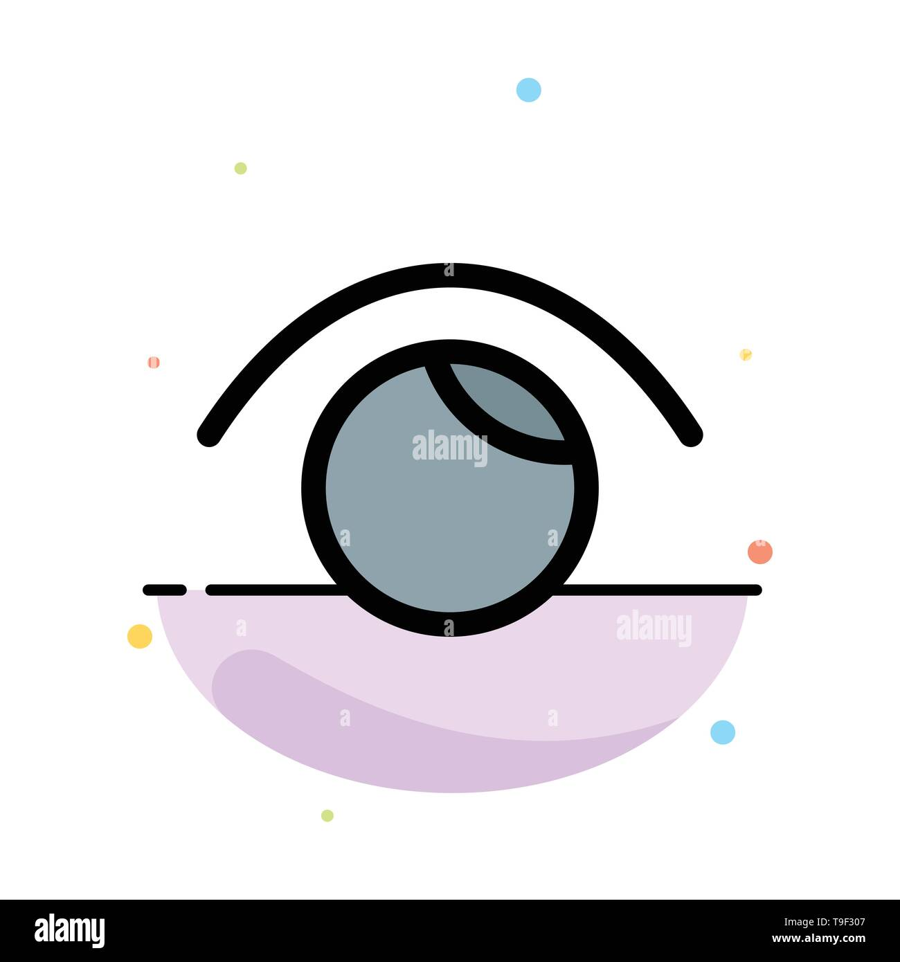 Eye, View, Watch, Twitter Abstract Flat Color Icon Template - Stock Image