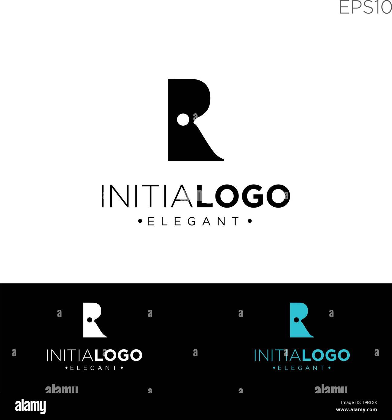 monogram initial r, rr, r logo template black color vector