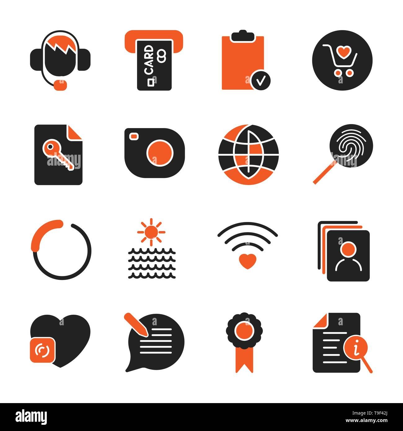 Set with different icons for apps, programs, sites and other. Office and business icons set - Stock Image