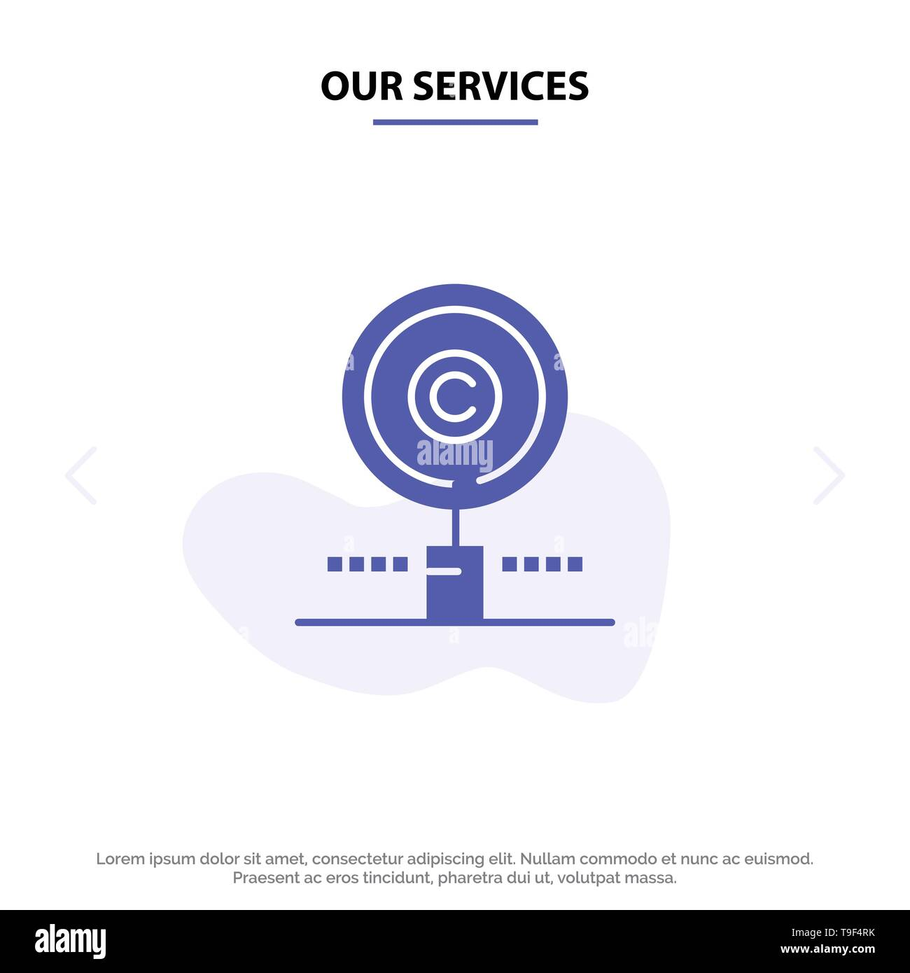 Our Services Content, Copyright, Find, Owner, Property Solid Glyph Icon Web card Template - Stock Image