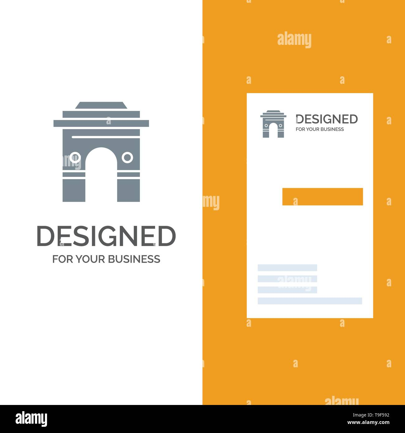 Culture, Global, Hinduism, India, Indian, Srilanka, Temple Grey Logo Design and Business Card Template - Stock Image