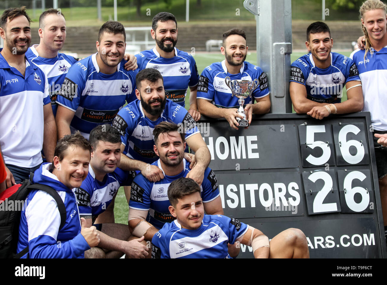The Greek Team Celebrate The Victory During The Rugby League World Cup Qualifier Match Between Greece