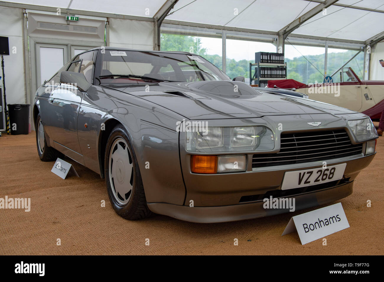 High Wycombe United Kingdom 18 May 2019 Bonhams Put Aston Martin And Lagonda Cars And Related Automobilia Under The Hammer At The Wormsley Estate In Buckinghamshire Pictured 1986 Aston Martin V8 Vantage
