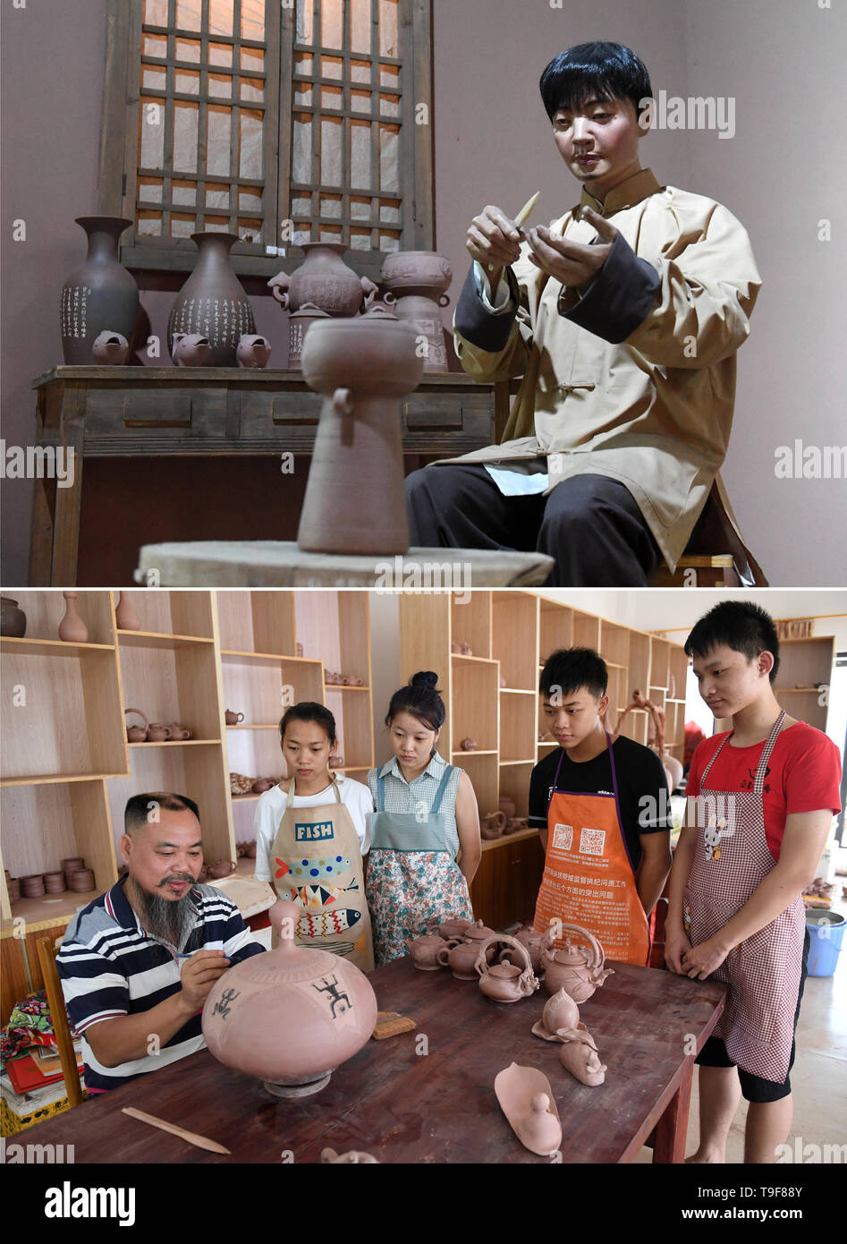 Nanning, China's Guangxi Zhuang Autonomous Region. 9th Oct, 2018. Combo photo shows a scene of a potter making Nixing pottery ware at Anthropology Museum of Guangxi in Nanning, south China's Guangxi Zhuang Autonomous Region, May 18, 2019 (above), and potter Huang Haiji (1st L) working on a Nixing pottery ware at a studio in Qinzhou, south China's Guangxi Zhuang Autonomous Region, Oct. 9, 2018. Credit: Lu Boan/Xinhua/Alamy Live News - Stock Image