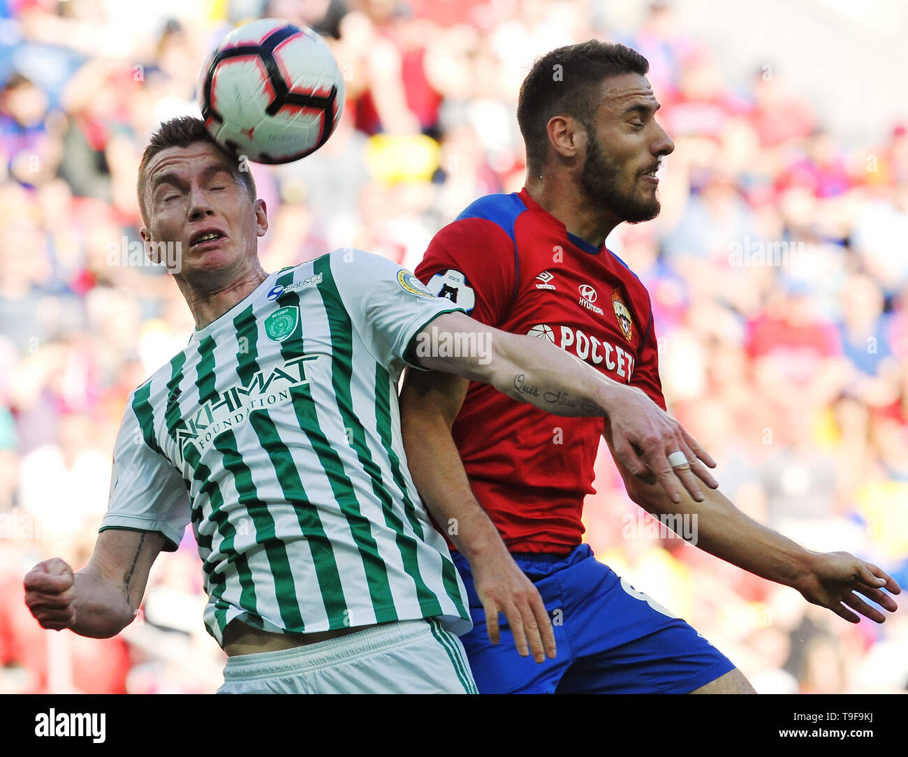 Moscow, Russia. 18th May, 2019. MOSCOW, RUSSIA - MAY 18: Nikola Vlasic of PFC CSKA Moscow and Andrei Semyonov of FC Akhmat Grozny vie for the ball during the Russian Football League match between PFC CSKA Moscow and FC Akhmat Grozny at Arena CSKA stadium on May 18, 2019 in Moscow, Russia. (Photo by Epsilon/Getty Images) Credit: ITAR-TASS News Agency/Alamy Live News - Stock Image