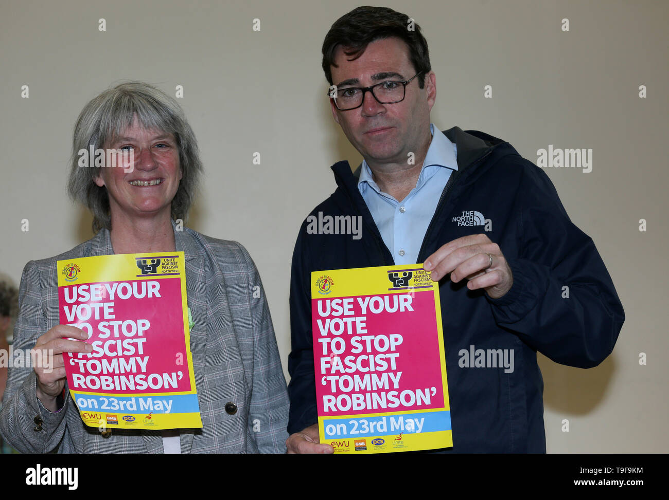 Manchester, UK, 18th May, 2019.  Stand Up To Racism hold a rally opposing former leader of the English Defence League, Tommy Robinson who is standing for election in the European Elections.  Labour Mayor of Greater Manchester, Andy Burnham speaking at the rally said we should 'stand up to racism and vote in the EU elections to stop Tommy Robinson'.  Nahella Ashraf from SUTR chaired the rally and green party representative Wendy Olsen spoke. Central Buildings, Manchester. Credit: Barbara Cook/Alamy Live News Credit: Barbara Cook/Alamy Live News - Stock Image