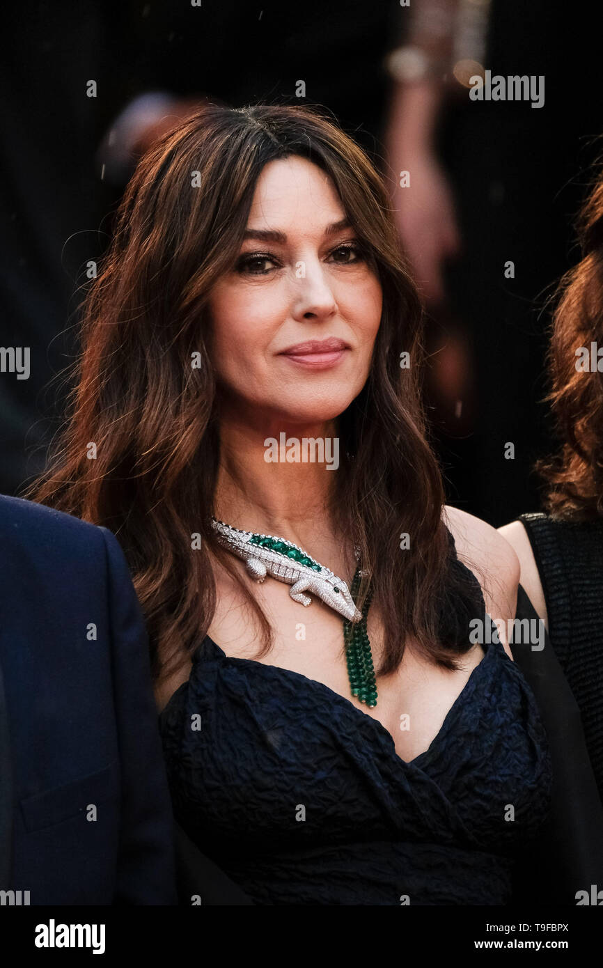 Monica Bellucci poses  on the red carpet for The Best Years of a Life on Saturday 18 May 2019 at the 72nd Festival de Cannes, Palais des Festivals, Cannes. Pictured: Monica Bellucci. Picture by Julie Edwards. - Stock Image