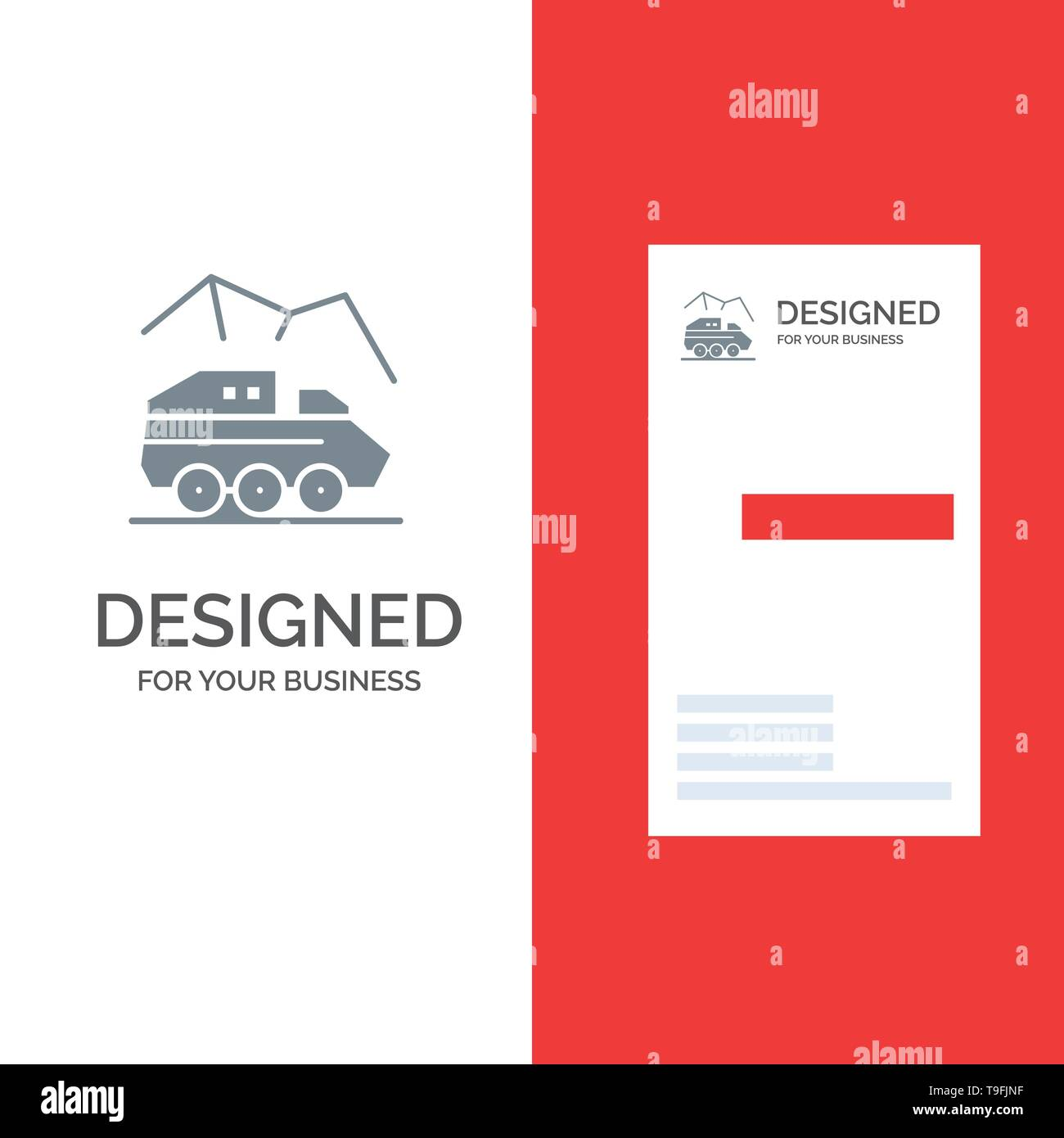 Exploration, Planet, Rover, Surface, Transport Grey Logo Design and Business Card Template - Stock Image