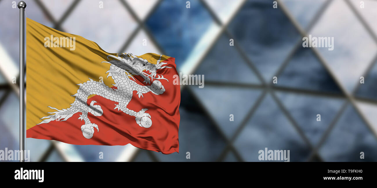 Bhutan flag waving in the wind against blurred modern building. Business concept. National cooperation theme. - Stock Image
