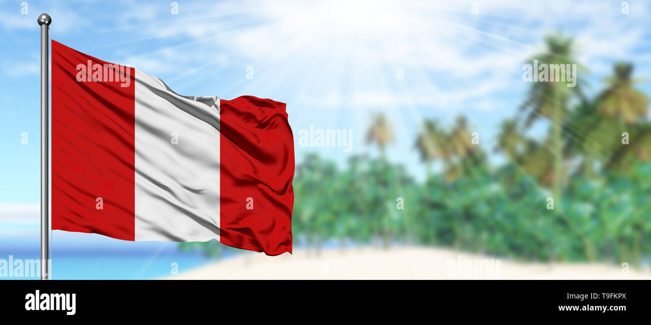 Waving Peru flag in the sunny blue sky with summer beach