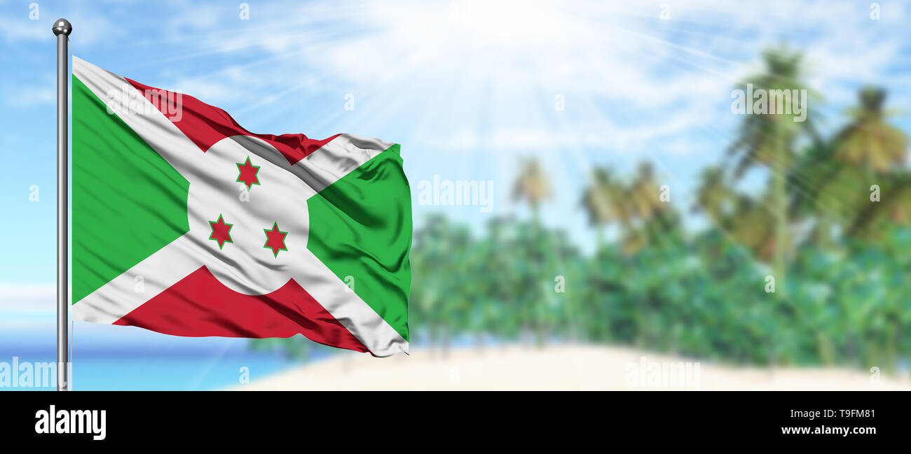 Waving Burundi Flag In The Sunny Blue Sky With Summer Beach Background Vacation Theme Holiday Concept Stock Photo Alamy