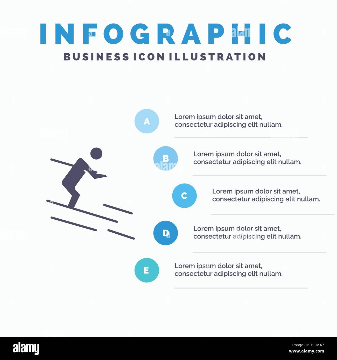 Activity, Ski, Skiing, Sportsman Solid Icon Infographics 5 Steps Presentation Background - Stock Image