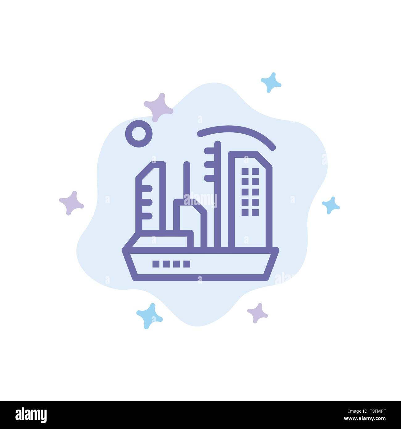 City, Colonization, Colony, Dome, Expansion Blue Icon on Abstract Cloud Background Stock Vector