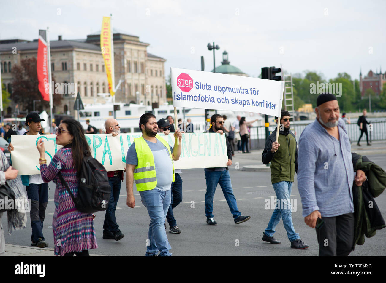 Stockholm, Sweden, May 18, 2019.  Demonstration for detained imams in Sweden.  In recent weeks, imams and Muslim leaders in Sweden have been taken in custody.  Three imams are now in custody: Abo Raad, imam of a mosque in Gävle, Hussein Al-Jibury, imam of a mosque in Umeå, and Fekri Hamad, imam of a mosque in Västerås. Raad's son is also being held. Abdel-Nasser el Nadi, chief executive of Vetenskapsskolan, is the fifth senior member of Sweden's Muslim community to be placed in custody in less than a month.    According to Swedish law, Swedish Security, Säpo, can deport anyone who is not a Swe Stock Photo