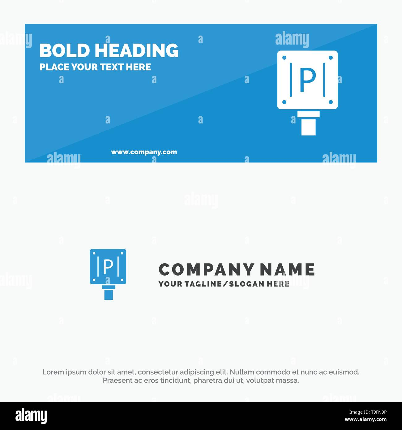 Parking, Board, Sign, Hotel SOlid Icon Website Banner and Business Logo Template - Stock Image