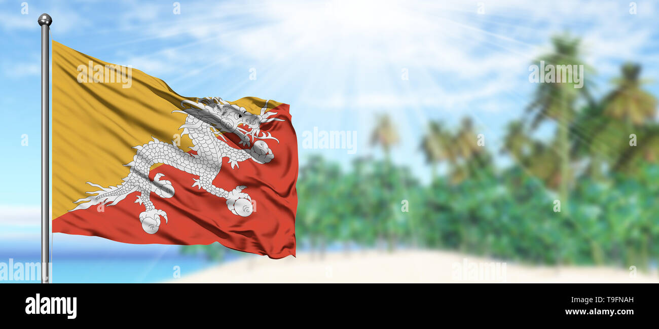 Waving Bhutan flag in the sunny blue sky with summer beach background. Vacation theme, holiday concept. - Stock Image