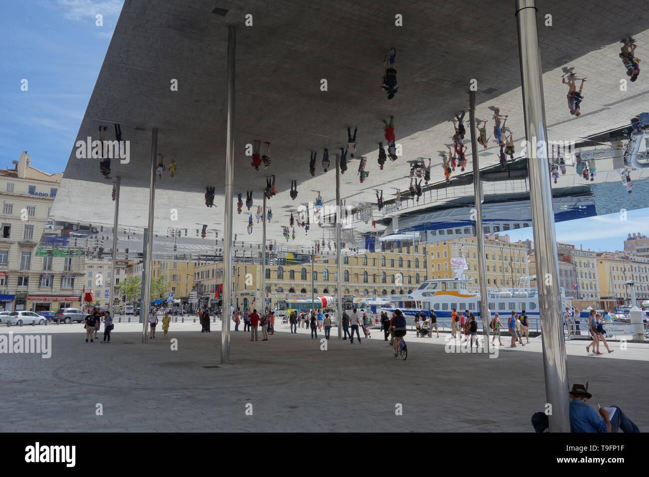 Marseille, Vieux Port, Foster+Partners, Mirror - Stock Image