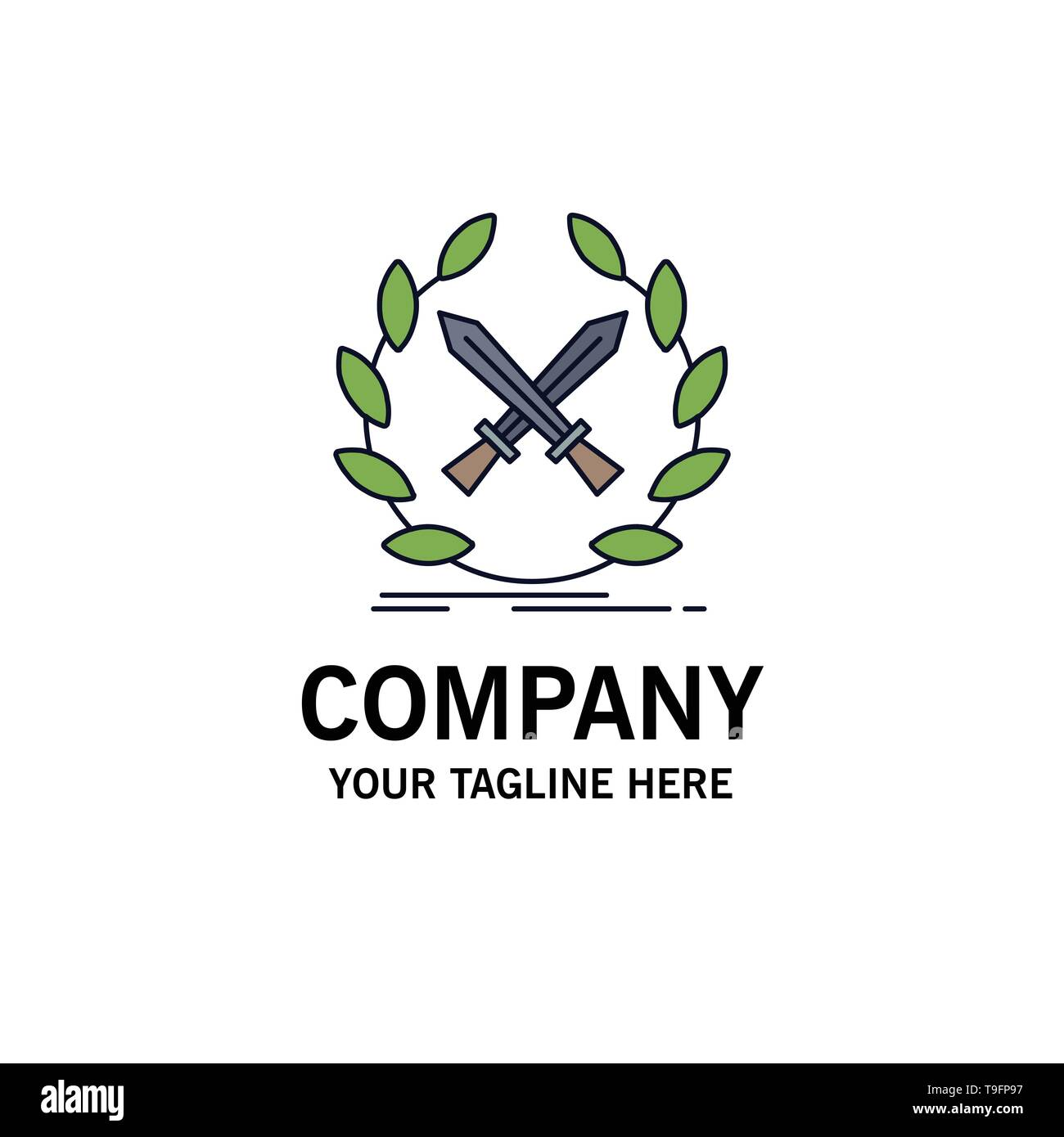 battle, emblem, game, label, swords Flat Color Icon Vector - Stock Image