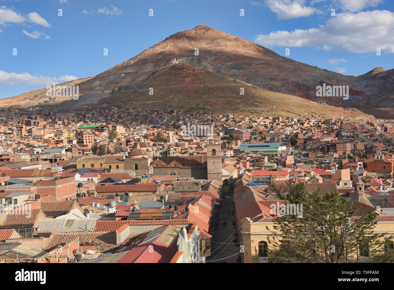 Rooftop view of Cerro Rico mine from the San Francisco Church and Convent, Potosí, Bolivia - Stock Image