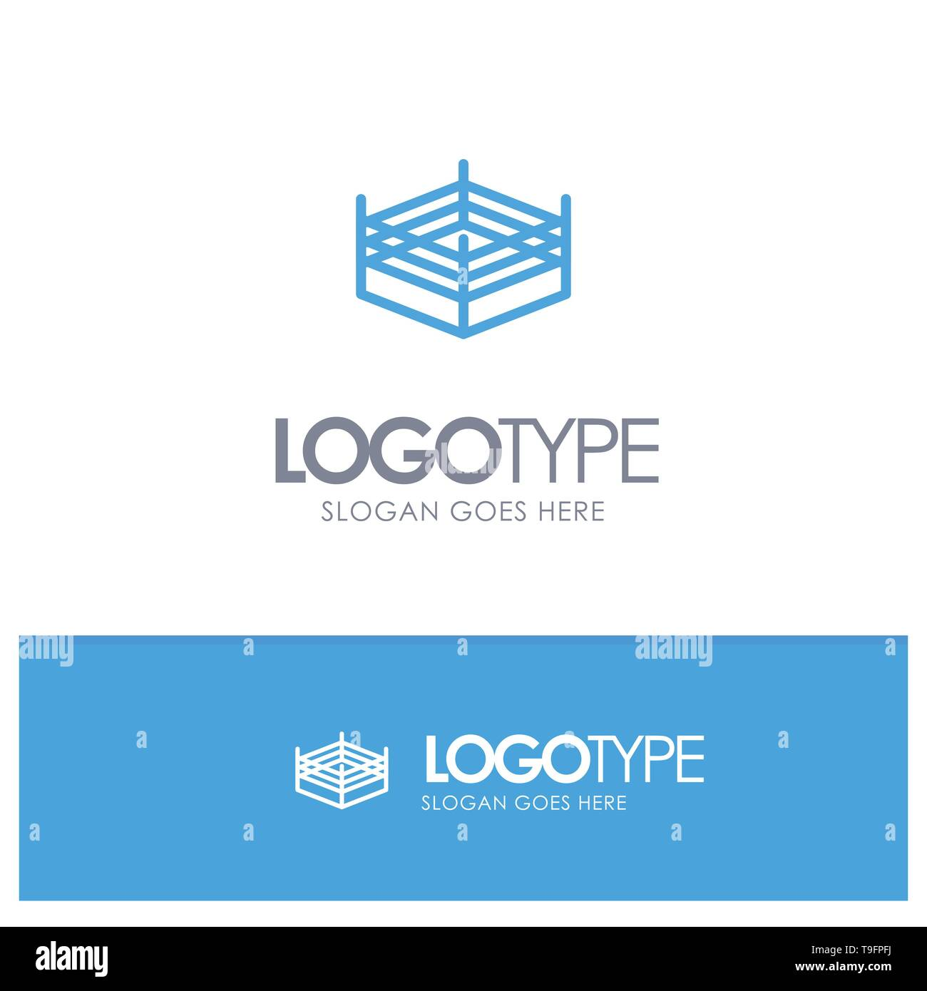 Boxing, Ring, Wrestling Blue outLine Logo with place for tagline - Stock Image