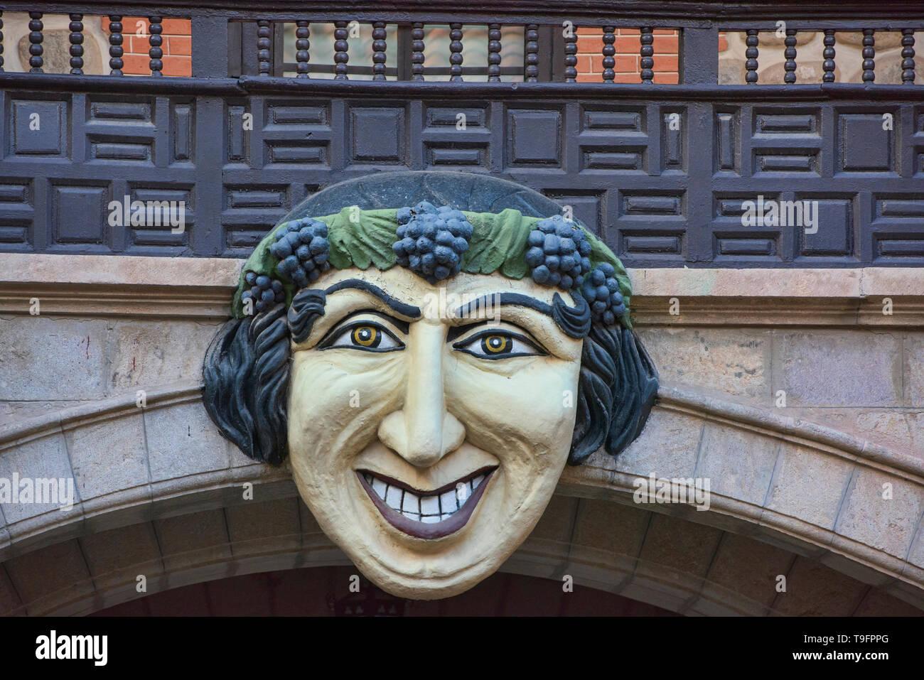 Bacchus mask in the courtyard of the Casa Nacional de la Moneda, Potosí, Bolivia - Stock Image