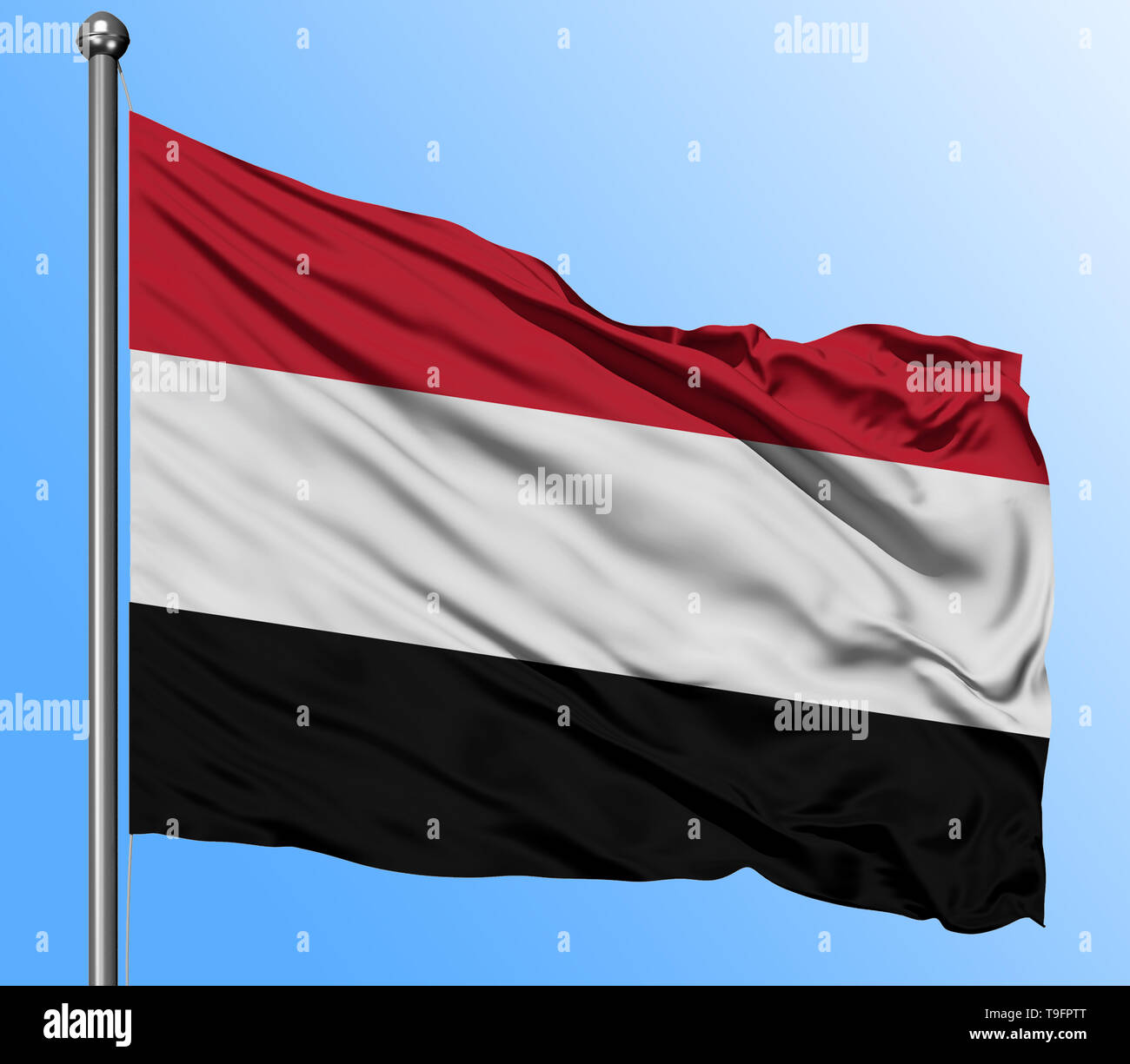 Yemen flag waving in the deep blue sky background. Isolated national flag. Macro view shot. - Stock Image